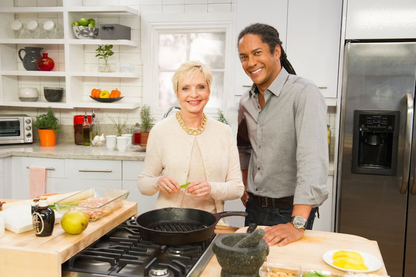 Florence Henderson and Govind Armstrong of RLTV's Who's Cooking with Florence Henderson.  (PRNewsFoto/RLTV)